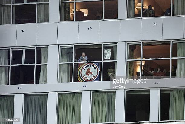 The Boston Red Sox have fans everywhere including hotel rooms overlooking right field during tonight's game vs the Toronto Blue Jays at Rogers Centre...