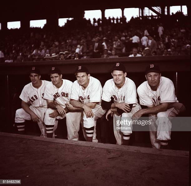 The Boston Red Sox infielders are shown here Left to right is John Pesky Bob Doerr Mike Higgins Glen Russell and Rudy York
