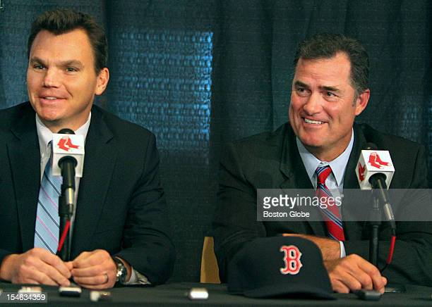 The Boston Red Sox introduced new manager John Farrell right at a noon press conference at Fenway Park Here he is seen with general manager Ben...