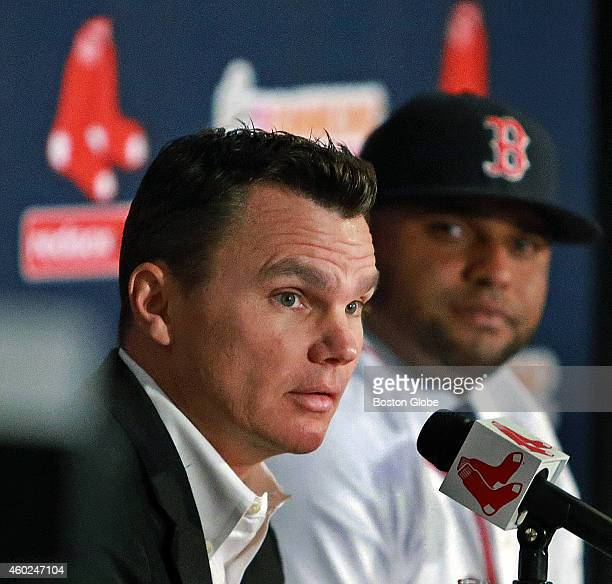 The Boston Red Sox introduced newly signed third baseman Pablo Sandoval backround right at a press conference at Fenway Park General Manager Ben...