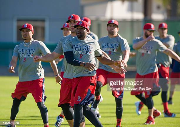 The Boston Red Sox warm up during a Spring Training workout on February 17 2016 at Fenway South in Fort Myers Florida