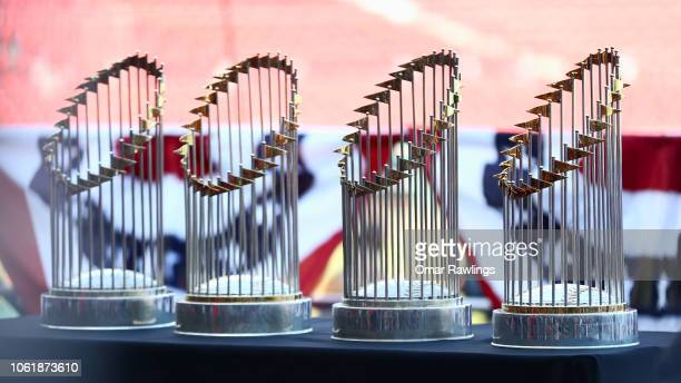 The Boston Red Sox World Series Trophies on display at Fenway Park before the Victory Parade around Boston on October 31 2018 in Boston Massachusetts