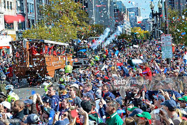 The Boston Red Sox World Series victory Rolling Rally passes through Copley Square in Boston, MA on November 2, 2013. Members of the Boston Red Sox...