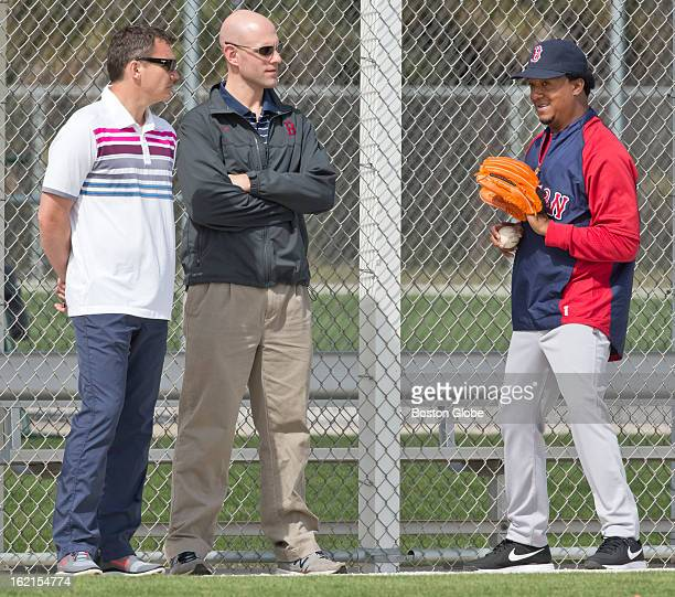 The Boston Red Sox's Ben Cherington general manager left Ben Crockett director of player development center and Pedro Martinez special assistant to...