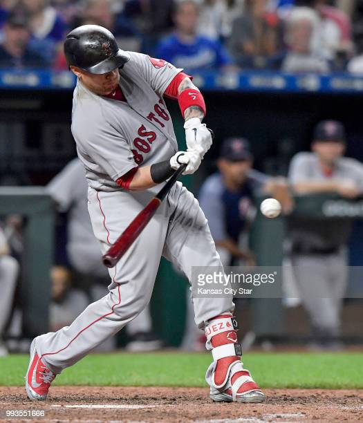 The Boston Red Sox's Christian Vazquez lines up a tworun single in the seventh inning against the Kansas City Royals at Kauffman Stadium in Kansas...