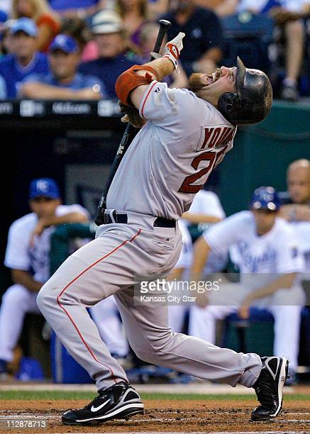 The Boston Red Sox's Kevin Youkilis gets hit by a pitch from Kansas City Royals starting pitcher Luke Hochevar in the first inning at Kauffman...