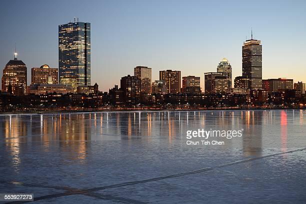 the boston skyline - boston stock-fotos und bilder