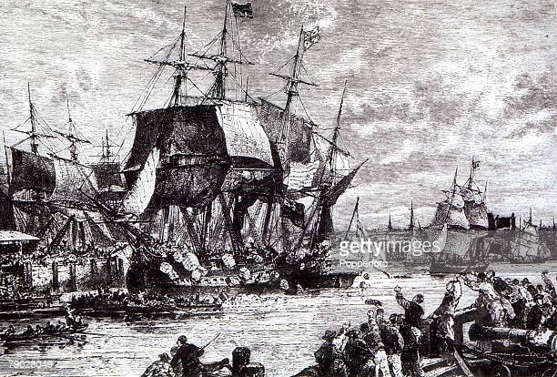 The Boston Tea Party American citizens empty tea into harbour as a protest against the British