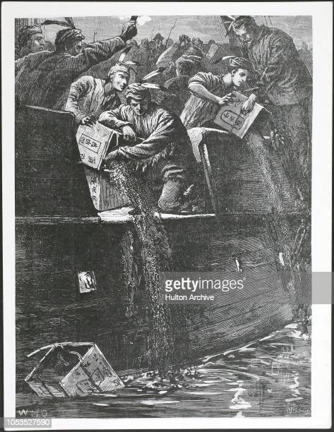 The Boston Tea Party Boston boys disguised as Native Americans throwing tea chests into the harbour Boston 16th December 1773