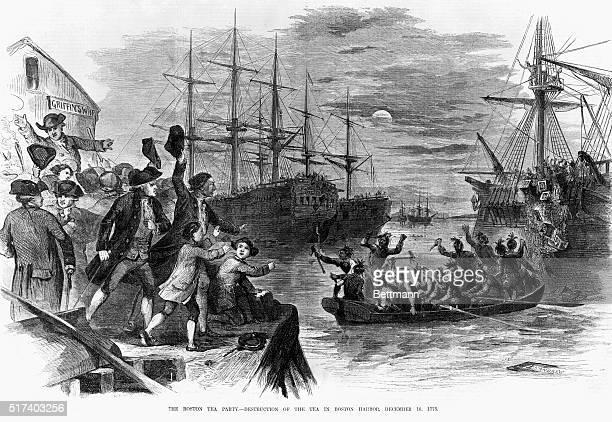 The Boston Tea Party By John Andrew Ballous Pictorial 1856 It Represents Scene