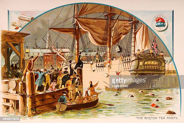 The Boston Tea Party when American colonists dressed as Indians threw a British cargo of tea into Boston Harbor in protest against an exorbitant tax...