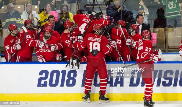 The Boston University Terriers celebrate an empty net goal by teammate Logan Cockerill against the Cornell Big Red during the NCAA Division I Men's...