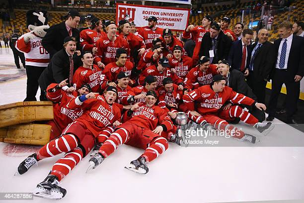 The Boston University Terriers celebrate their win over the Northeastern Huskies 4-3 during overtime in the 2015 Beanpot Tournament Championship game...