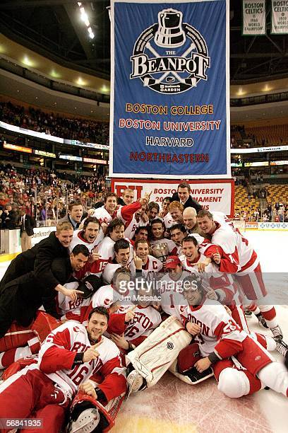 The Boston University Terriers pose for a team photo after defeating the Boston College Eagles during the championship game of the 54th annual...