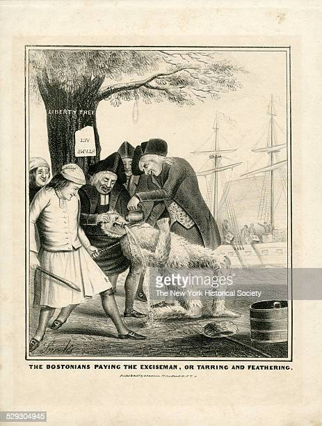 The Bostonians Paying the Exciseman or Tarring and Feathering 1774 Lithograph by Snooks