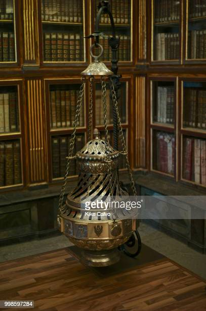 The Botafumeiro smoke expeller in Galician is a famous thurible found in the Santiago de Compostela Cathedral Incense is burned in this swinging...