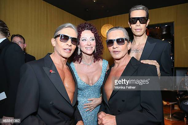The Botox Boys Arnold Oskar Florian Wess and Christina Lugner attend the Champagne And Oyster Reception in Hotel Le Meridien on February 12 2015 in...