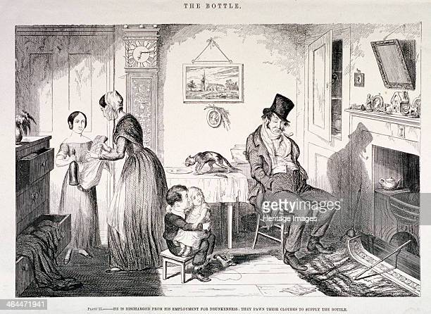 'The Bottle' 1847 showing an interior domestic scene with the father sitting in front of the fire smoking having been discharged from his employment...