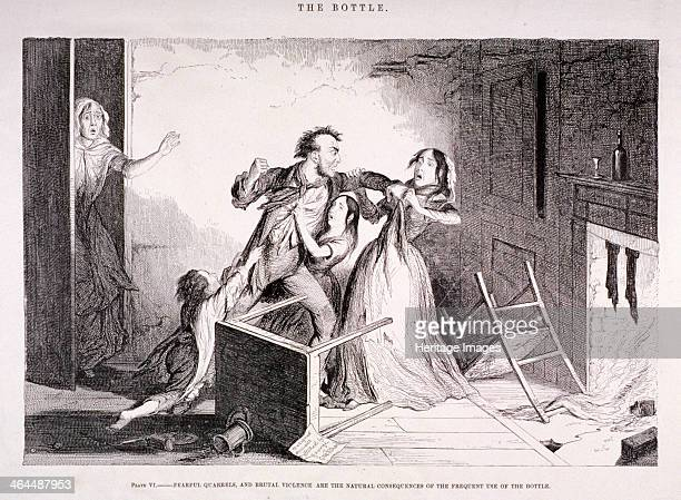 'The Bottle' 1847 showing an interior domestic scene with the husband and wife fighting due to the effects of excessive drinking The children are...