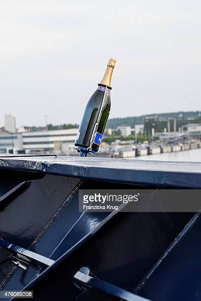 The bottle for the naming ceremony of the cruise ship 'Mein Schiff 4' on June 5 2015 in Kiel Germany