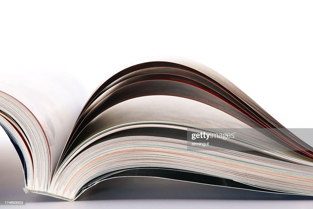 The bottom of an open catalog or book : Stock Photo