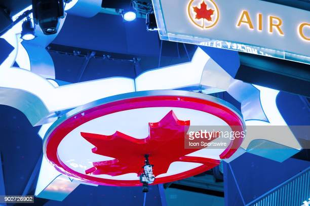 The bottom of the Scoreboard over centre ice before the regular season NHL game between the Vancouver Canucks and the Toronto Maple Leafs on January...