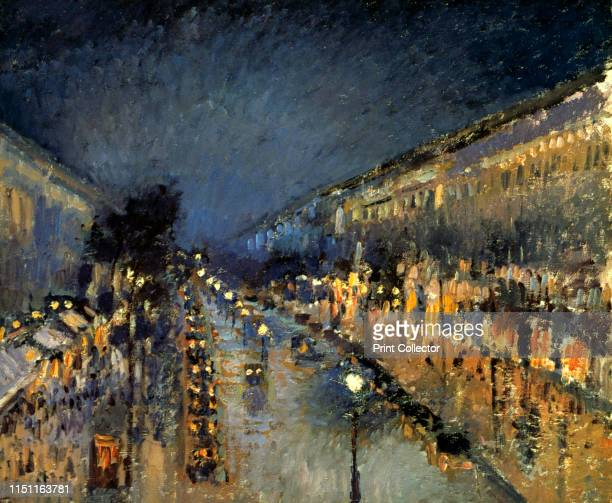 The Boulevard Montmartre at Night' 1897 National Gallery Collection London Artist Camille Pissarro