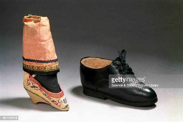 The bound foot is shown with a normalsized shoe for comparison Binding women's feet was a painful and crippling Chinese tradition which kept the size...