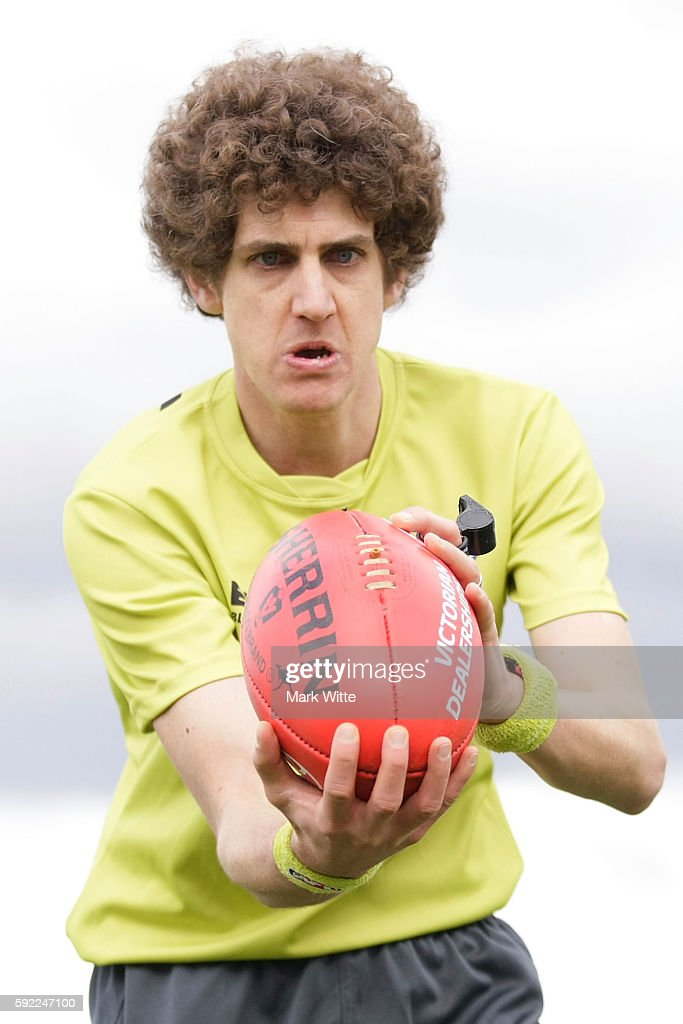 The Boundary umpire throws the ball back into play during the round 20 VFL match between the Box Hill Hawks and the Collingwood Magpies at Box Hill City Oval on August 20, 2016 in Melbourne, Australia.