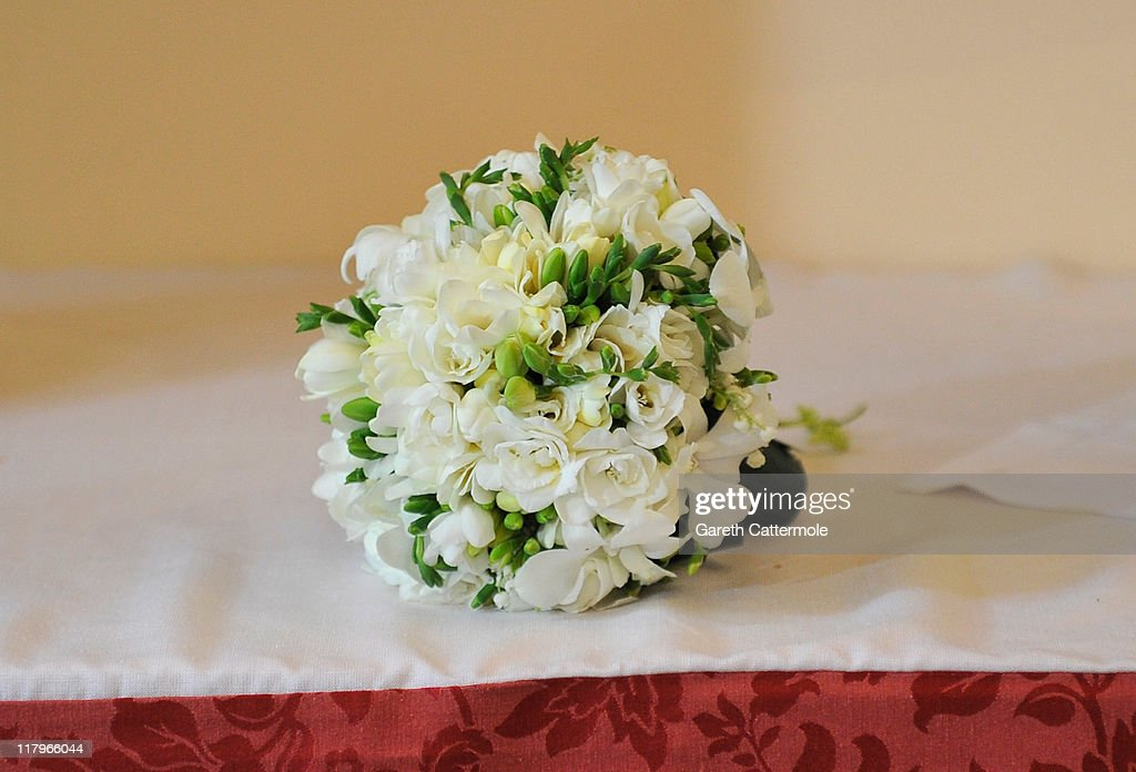 The bouquet of flowers left by Princess Charlene of Monaco inside Sainte Devote church after the religious wedding ceremony at the Prince's Palace of Monaco on July 2, 2011 in Monaco. The Roman-Catholic ceremony followed the civil wedding which was held in the Throne Room of the Prince's Palace of Monaco on July 1. With her marriage to the head of state of the Principality of Monaco, Charlene Wittstock has become Princess consort of Monaco and gains the title, Princess Charlene of Monaco. Celebrations including concerts and firework displays are being held across several days, attended by a guest list of global celebrities and heads of state.