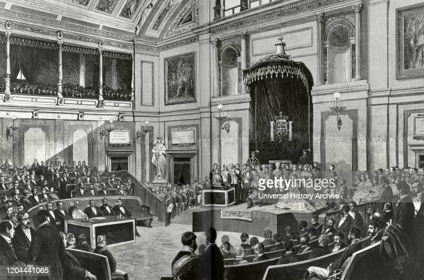 The Bourbon Restoration. Madrid, Spain. King Alfonso XII reading the speach to opening of the Cortes Generales . Engraving. La Ilustracion Espanola y...