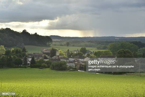 The Bourg of Champagne in middle nature under sunny or shadowy zones