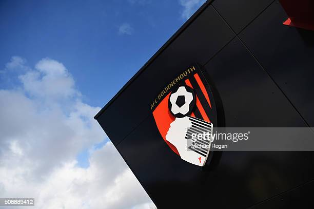 The Bournemouth club crest is seen prior to the Barclays Premier League match between AFC Bournemouth and Arsenal at the Vitality Stadium on February...
