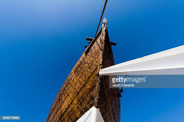 The bow and hull of the Fateh al-Khair, the last surviving dhow of the pre-oil era.