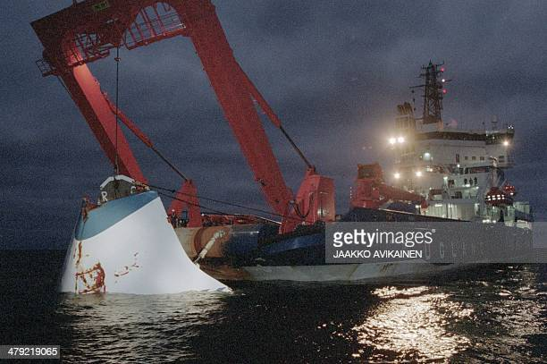 WITH SWEDENESTONIAFINLANDSHIPACCIDENT The bow door of the sunken ferry M/S Estonia is lifted from the bottom of the sea off Uto island overnight 19...