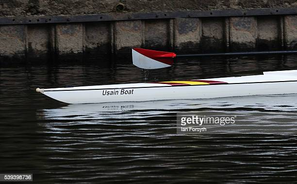 The bow of a rowing boat called 'Usain Boat' can be seen as rowers from across the country take part in the 183rd annual regatta on the River Wear on...