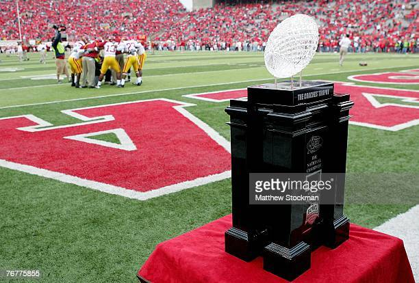 The Bowl Championship Trophy looms in the endzone as the USC Trojans prepare for their game against the Nebraska Cornhuskers on September 15 2007 at...