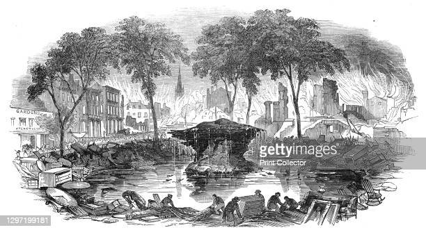 The Bowling-Green, and Broadway, 1845. Fire in New York City. 'This formerly cool and refreshing spot was soon transformed into a scorching and arid...