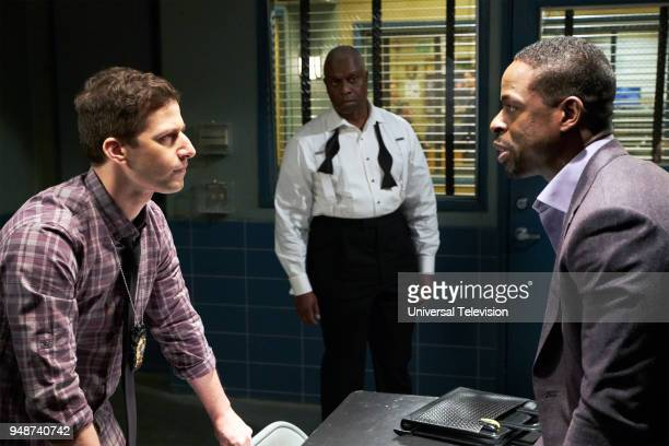 NINE 'The Box' Episode 514 Pictured Andy Samberg as Jake Peralta Andre Braugher as Captain Ray Holt Sterling K Brown as Philip Davidson