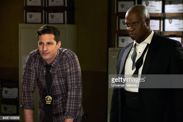NINE 'The Box' Episode 514 Pictured Andy Samberg as Jake Peralta Andre Braugher as Captain Ray Holt