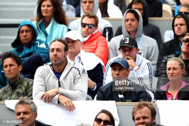 The box of Dominic Thiem of Austria including coach, Nicolas Massu and girlfriend Kristina Mladenovic watch on during his mens singles semi-final...