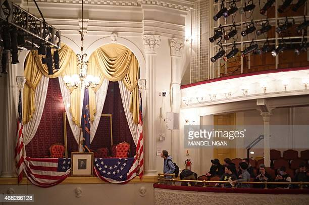 The box where Abraham Lincoln was shot is seen at Ford's Theatre in Washington DC on April 1 2015 The nation will mark the 150th anniversary of...