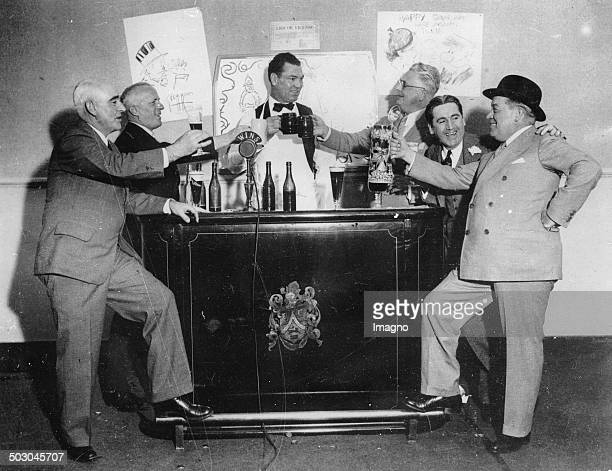 The boxer Jack Dempsey at a beer party From left to right Blue Burt Kenney Arthur Baer Jack Dempsey Russ Westover Freddie Steele George McManus 14th...