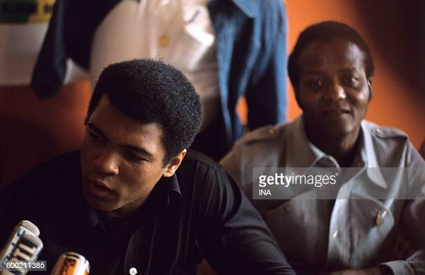 The boxer Mohamed Ali during a press conference before its fight against George Foreman