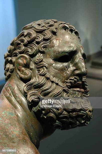 The Boxer of Quirinal or Therme Boxer Bronze Hellenistic orginal found at the remains of the Baths of Constantine Detail of head showing cauliflower...