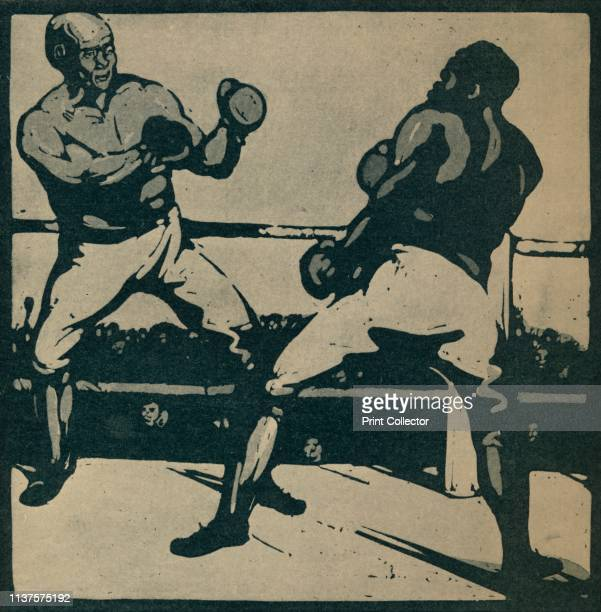 The Boxers' Two men in a boxing ring From An Almanac Of Twelve Sports by Rudyard Kipling [William Heinemann London 1898] Published in Modern...