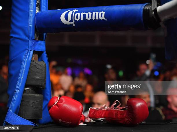 The boxing gloves belonging to Caleb Truax lay on the mat after his IBF super middleweight title fight against James DeGale at The Joint inside the...