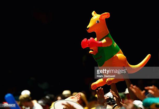 The boxing kangaroo is displayed in the crowd during day two of the First Test match between Australia and India at the Melbourne Cricket Ground on...