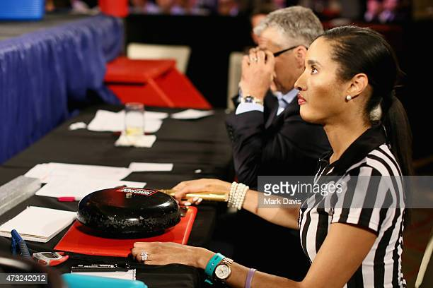 The boxing timekeeper is seen during the B Riley Co And Sugar Ray Leonard Foundation's 6th Annual Big Fighters Big Cause Charity Boxing Night at The...