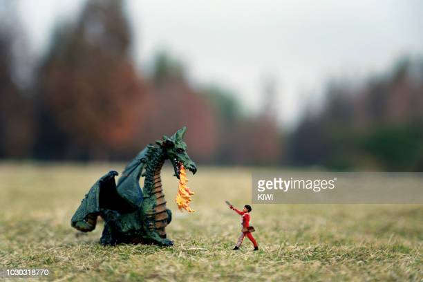 the boy against the dragon - dragon stock photos and pictures